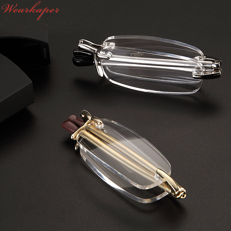 WEARKAPER Upscale Rimless Folding Reading Glasses Men Women Foldable Pocket Presbyopia Reader Hyperopia Eyewear Diopter Glasses