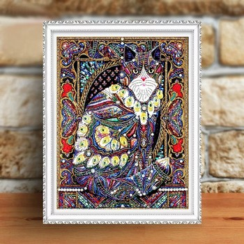 Huacan Diamond Painting Cat 5d Diy Diamond Embroidery Animal Partial Round Drill Special Shaped Diamond Mosaic Painting 40x50cm