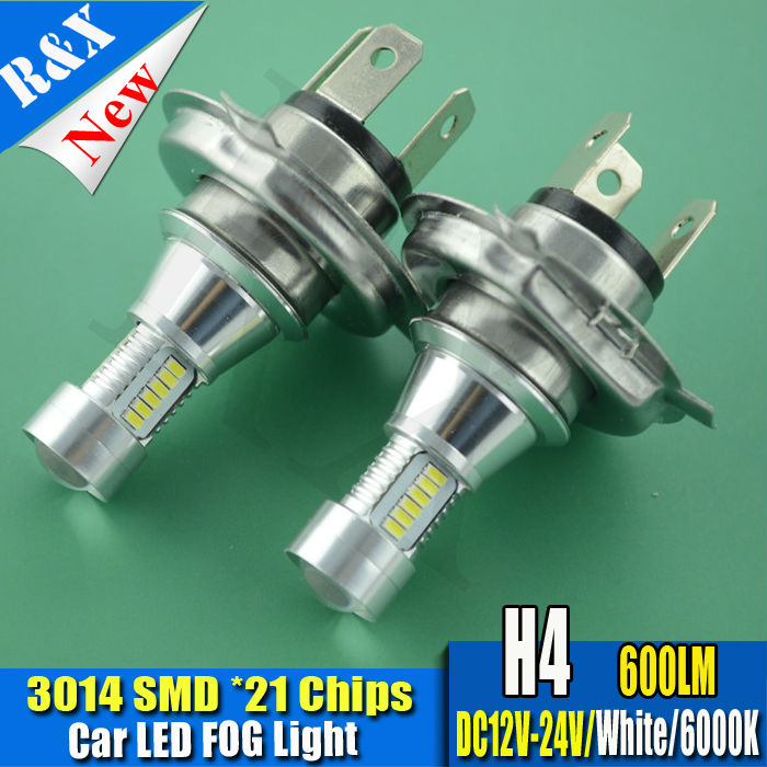 1xH4 3014 SMD 21LED Car Fog Lamp h4 led headlight Bulb Auto lights car led bulbs Car Light Source parking 12V 6000K xenon White