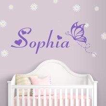 Customized Name with Butterfly Wall Decal Removable Vinyl Monogram Sticker Children Girl Mural Home Decor AY081