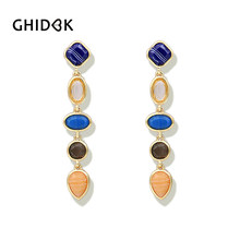 GHIDBK Baroque Natural Stone Long Hanging Earrings Female Elegant Bridal  Wedding Chandelier Earrings Classic Statement Earrings 538e131e4102
