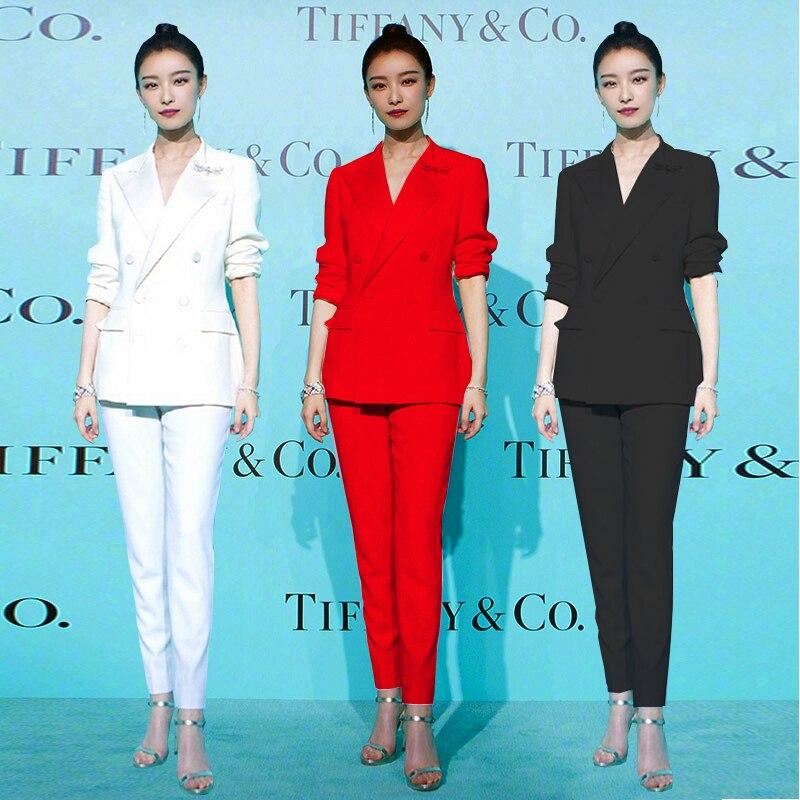 New Wild Fashion Suit Female Red Black White Professional Suit Jacket Slim Slim Suit Pants Two Sets Of Women's Nine Pants Suit