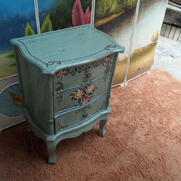 Brand new American minimalist retro rustic hand painted bedside table 3  NI99