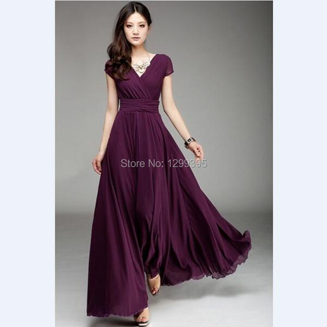b5eb694d3 Elegant And Sexy V-neck Simple Dark Purple Chiffon Long Prom Dress Long  Evening Party Dress Formal Dresses