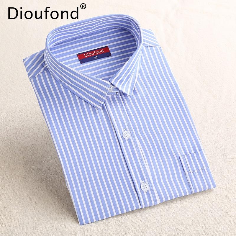 Dioufond Striped Women Long Sleeve Ladies Office Shirts Blue Stripes Regular Turn down Collar Pocket Blouse Shirt Blusas 2017