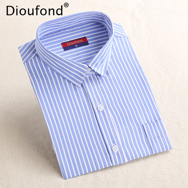 Dioufond Striped Women Long Sleeve Ladies Office Shirts Blue Stripes Regular Turn down Collar Pocket Blouse Shirt Blusas 2017