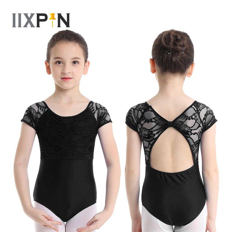 IIXPIN Kids Girls Gymnastics Leotard Ballet Dance Costumes Short Sleeves Floral Lace Bowtie Shaped Back Ballet Dance Jumpsuit