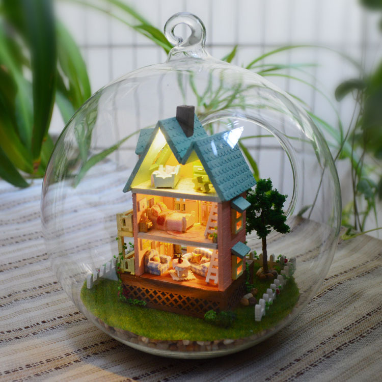 DIY Glass Ball Doll Home Mannequin Constructing Kits Wood Mini Handmade Miniature Dollhouse Toy Birthday Greative Present-Mini Home