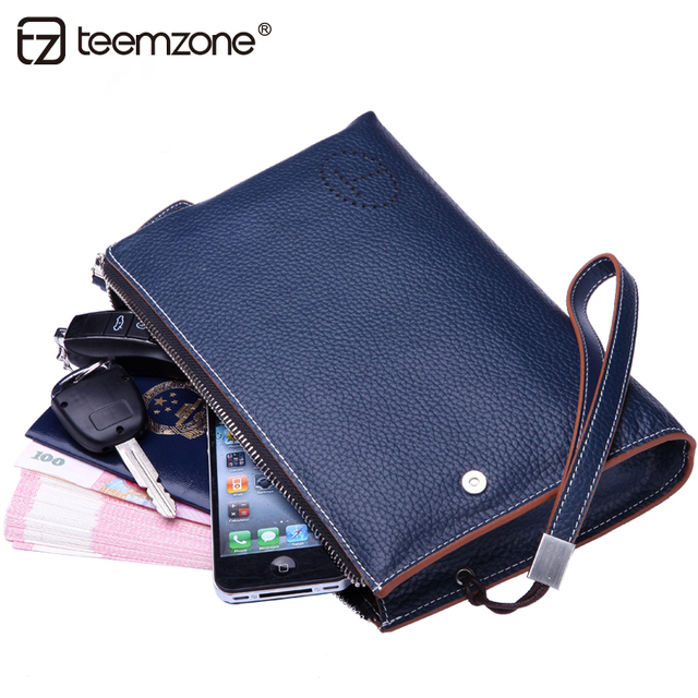 teemzone Fashion Business Handbag Men's Wrist Strap Cowhide Genuine Leather Large capacity Wrist Clutch Bag handbag 3 size J50