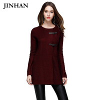 JINHAN Casual O Neck Long Cardigan Women Autumn Winter S M Leather Button Warm Sweater Coat
