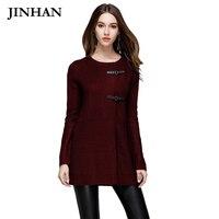 JINHAN Casual O Neck Long Cardigan Women Autumn Winter S M Leather Button Warm Sweater Coat