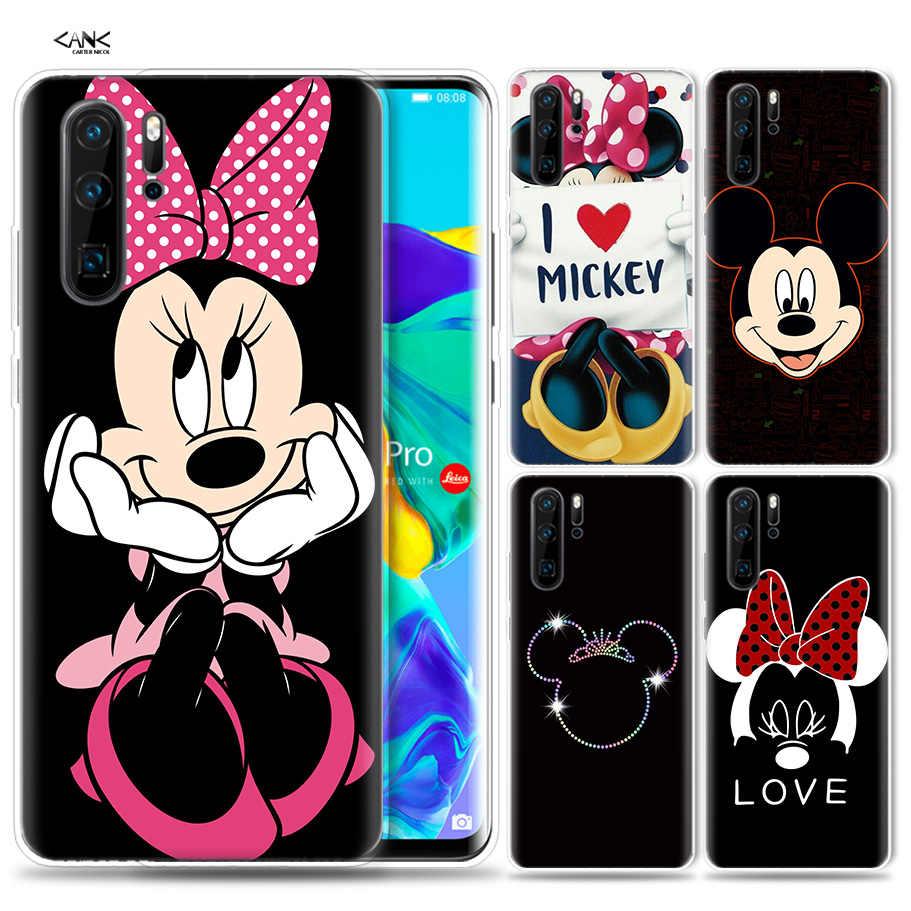 Caso de Huawei P30 P20 P10 P9 Mate 10 20 Lite Pro teléfono móvil bolsa P inteligente Z 2019 plus besando a los amantes de Mickey Mouse Mickey Minnie