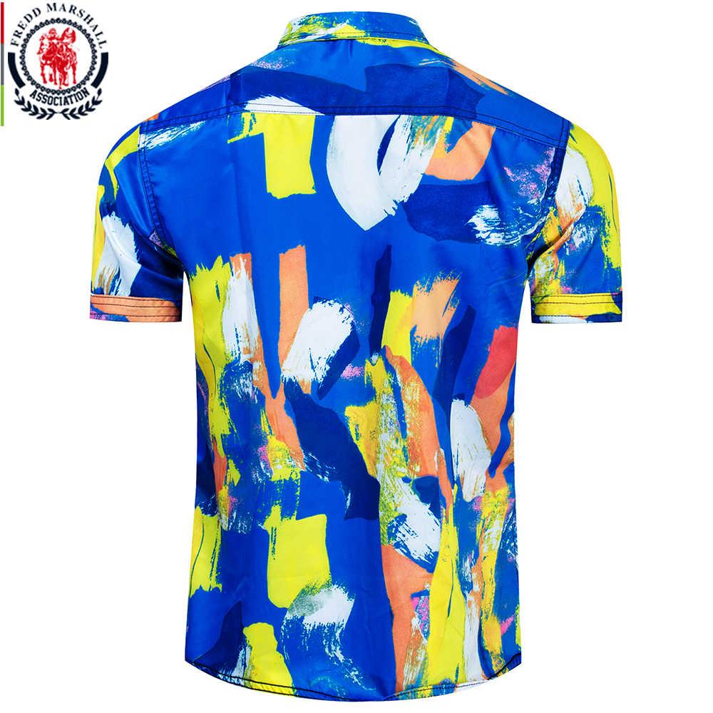 Fredd Marshall 2019 летняя новая мужская гавайская рубашка модные рубашки с принтом Повседневная пляжная рубашка с короткими рукавами праздничная одежда 55897