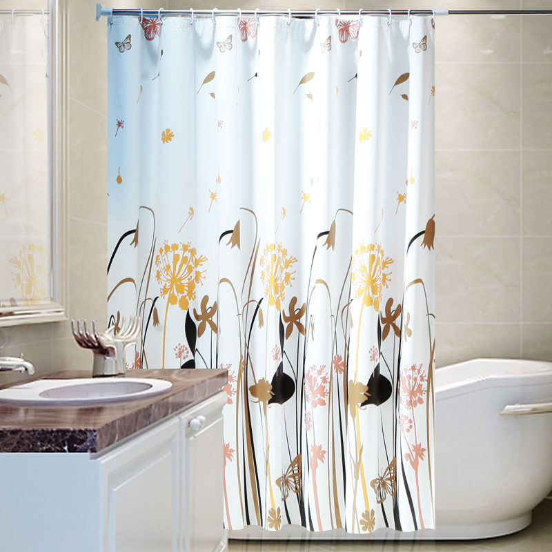 Modern home Shower Curtain Polyester Cloth Waterproof Moldproof floral Bathroom Curtain opaqu 180/200cm With Hooks