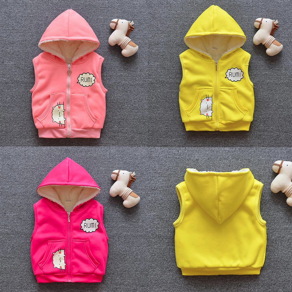 Kid Infant Cartoon Jackets Baby Toddler Warm Veat Waistcoat Clothes Hoodie Coat(China)
