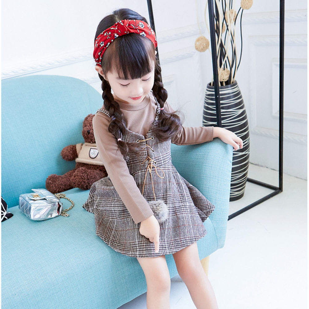 Girl clothes autumn winter kids dress suit for girls 2017 children long-sleeved T-shirt + lattice dress 2pcs girl clothing set