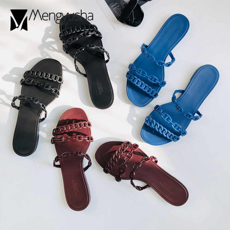 famous designer chains sandals women flat heel summer shoes woman pig nose chain belt flip flops three band beach sandalias c372