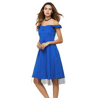 New Women Casual Summer Sexy Dress Spots Dresses Loose Off Shoulder Patchwork Plus Size