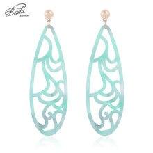 Badu Green Acetic Acid Earring Big Long Oval Pendant Carved Acrylic Earrings for Women Bohemian Jewelry Gift Girls