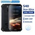 DOOGEE S40 IP68/IP69K водонепроницаемый смартфон MTK6739 четырехъядерный 3 ГБ 32 ГБ 5,5 ''Android 9,0 мобильный телефон 4650 мАч 8.0MP прочный телефон