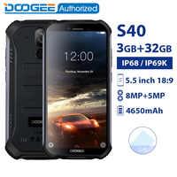 DOOGEE S40 IP68/IP69K impermeabile smartphone MTK6739 Quad Core 3GB 32GB 5.5 ''Android 9.0 Del Telefono Mobile 4650mAh 8.0MP telefono cellulare Robusto