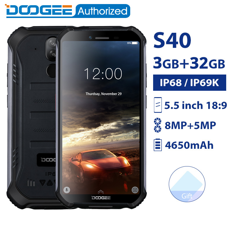 DOOGEE S40 IP68/IP69K smartphone étanche MTK6739 Quad Core 3GB 32GB 5.5 ''Android 9.0 téléphone portable 4650mAh 8.0MP téléphone robuste