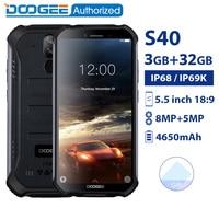 DOOGEE S40 IP68/IP69K waterproof smartphone MTK6739 Quad Core 3GB 32GB 5.5'' Android 9.0 Mobile Phone 4650mAh 8.0MP Rugged phone
