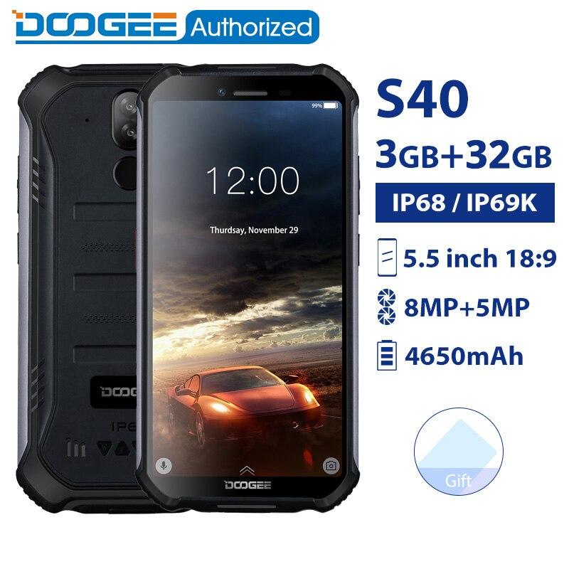 DOOGEE S40 IP68/IP69K MTK6739 smartphones à prova d' água Quad Core 3GB 32GB 5.5 ''Android 9.0 Do Telefone Móvel 4650mAh 8.0MP telefone Robusto