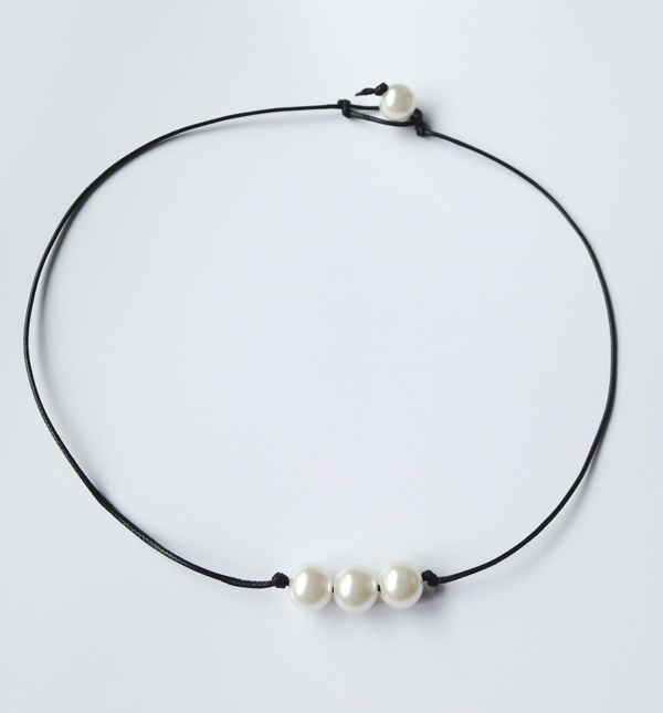 Famous New cultured freshwater pearl necklace ivory real pearl leather  LE61