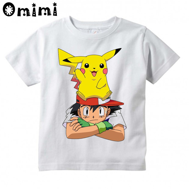 Children's Cartoon Pokemon Go Printed T Shirt Kids Great Casual Short Sleeve Tops Boys and Girls Cute T-Shirt cute scoop neck short sleeve zebra printed t shirt for women