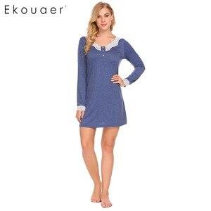 Image 2 - Ekouaer 여성 나이트 가운 캐주얼 v 넥 긴 소매 레이스 패치 워크 버튼 a 라인 느슨한 임신 잠옷 Homewear Nighty Clothes