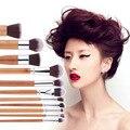 2016 Nuevo 11 unids De Bambú Natural de Maquillaje de Ojos Eyeshadow Brushes Blending Brush Powder Fundación Blending Pincel de maquillaje Cosmético Conjunto de Herramientas