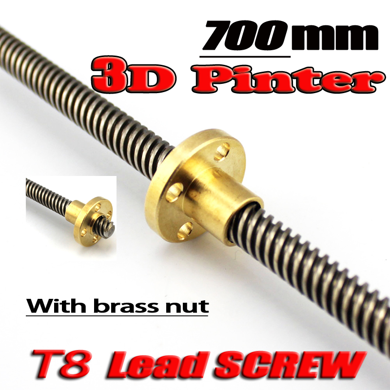 Free Shipping 3D Printer THSL-700-8D Lead Screw Dia 8MM Pitch 2mm Lead 4mm Length 700mm with Copper Nut 3d printer parts reprap ultimaker z motor with trapezoidal lead srew tr 8 8 p2 free shipping
