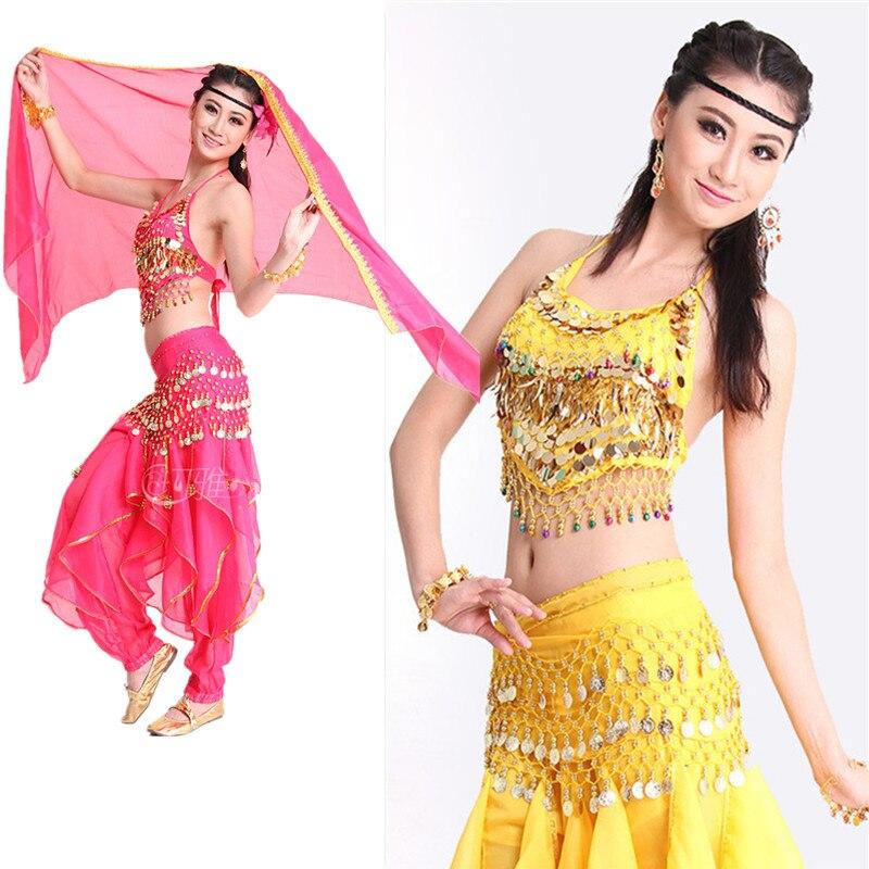 6 Colors Belly Dance Pant +Top+Belt Girls Ballroom Dance Costume Indian Dance Dress 3PCS/SET Oriental Dance Costumes Cheap Price индийский костюм для танцев девочек