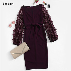 Image 5 - שיין סגול המפלגה מוצקה פרח Applique רשת שרוול טופס הולם סקיני עיפרון שמלת סתיו משרד ליידי נשים שמלות