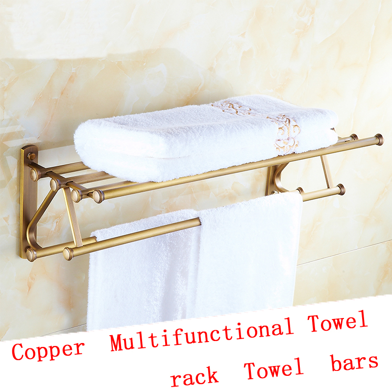 2 Style European Antique Brass bathroom shelves towel racks vintage ...