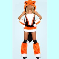 Abbille Free Shipping New Orange Adult Fur Sexy Fox Cosplay Women Halloween Costumes Sexy Fancy Dress