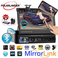 12 multi language bluetooth mirror link touch screen 7 inch stereo FM USB TF video 1 din car radio player GPS MP5