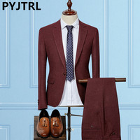 PYJTRL High End Mens Autumn Winter Two Piece Business Wedding Suits Male Fashion Casual Latest Coat
