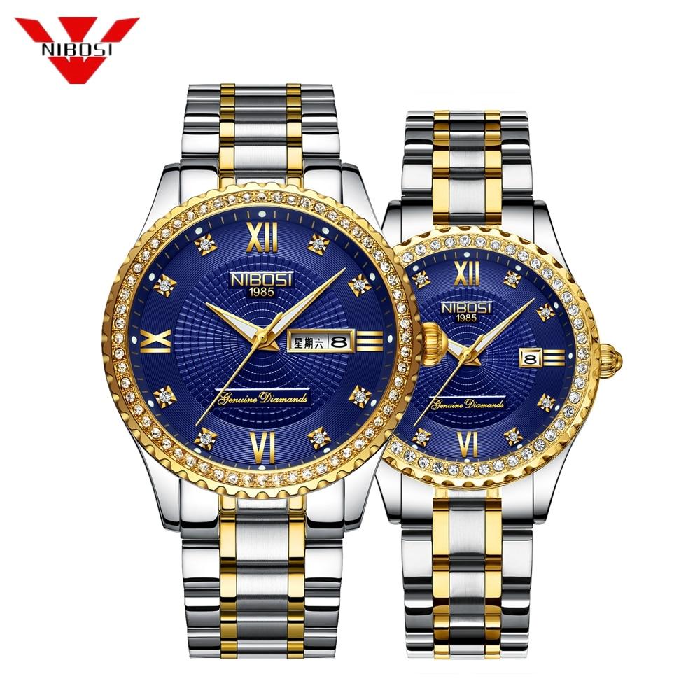 NIBOSI Pair Couple Watch Mens Watches Top Brand Luxury Quartz Watch Women Ladies Dress Wristwatch Fashion Casual Lovers Watch