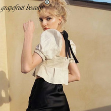 New French Women Elegant Square-collar Delicate  office lady white ruffles Blouses Breasted Irregular Short Elegant Shirts Blous