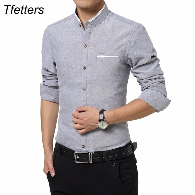 TFETTERS Brand Smart Casual Men Shirt Long Sleeve Stand Collar Slim Fit Shirt Men Business Work Shirts Easy Care Plus Size 5XL