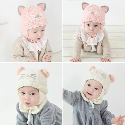 7083d4c98 US $2.92 22% OFF|Emmababy Cat Newborn Baby Boy Girls Winter Warm Double Fur  Pom Bobble Knit Beanie Hat Cap-in Hats & Caps from Mother & Kids on ...