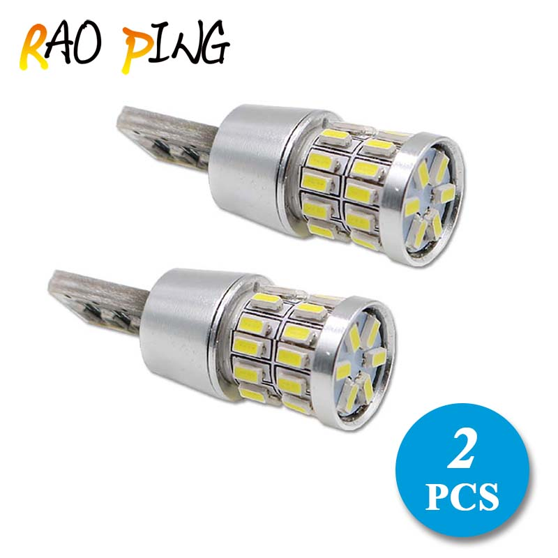 Raoping 2PCS Car Auto Light W5w Led T10 Canbus Clearance Lights 12v 30smd 3014 White License Plate Lamp Bulbs High Power deechooll 2pcs wedge light for mazda 2 3 5 6 mx5 rx8 cx7 626 gf gg ge gw canbus t10 57smd 6w led clearance xenon lighting bulbs
