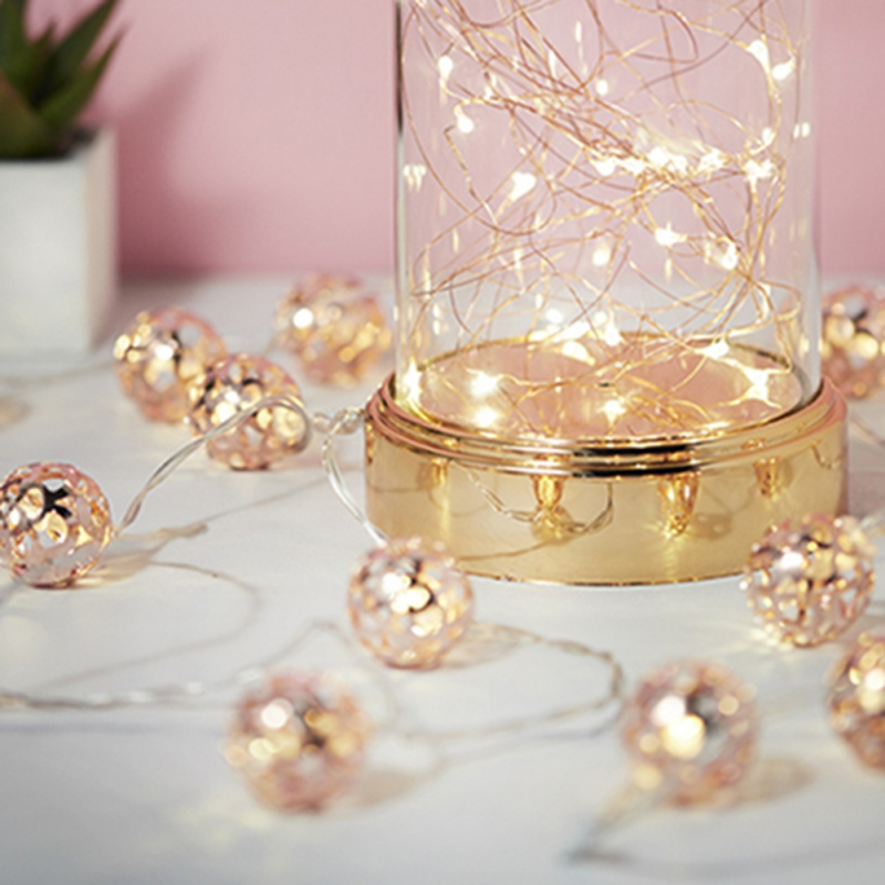 Light string Nordic Wind Rose Gold Ball Lights Festival Lighting Birthday Party Lighting String 1.5 /3 Meters 2619