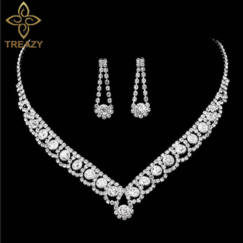 TREAZY Statement Crystal Bridal Jewelry Sets Fashion Rhinestone Choker Necklace Earrings African Wedding Jewelry Sets for Women