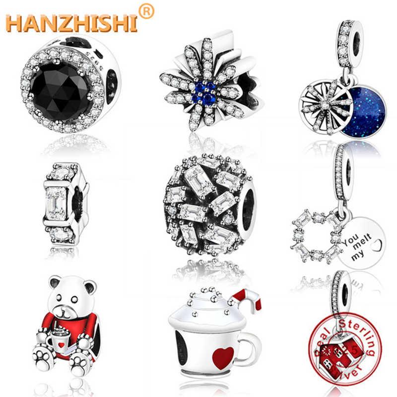Оригинальный браслет Pandora из стерлингового серебра 925 пробы, черный Магический кристалл злой королевы, CZ талисман из бусин ручной работы украшения berloque