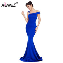 ADEWEL 2018 Women Single Spaghetti Strap Long Party Dress With  With Flower on the Shoulder Formal Elegant Dresses