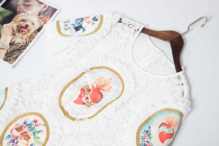 2019 Spitze Frauen Kleid Elegante Kurze Mode Perlen Applique Weiß Runway Neue Ankunft Qyfcioufu Sommer Party White Rüschen lFKJc1