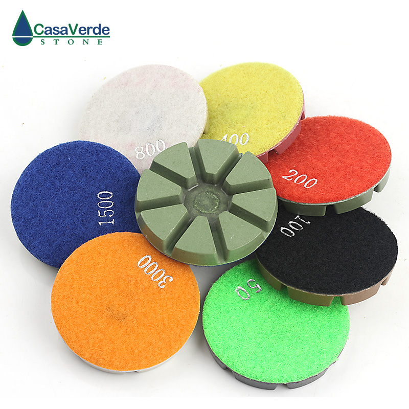 Free shipping diamond floor polishing pads 3 inch wet polishing for granite concrete marble floor 4 inch diamond polishing pads 19 piece set granite marble concrete stone wet dry 2018 new arrival